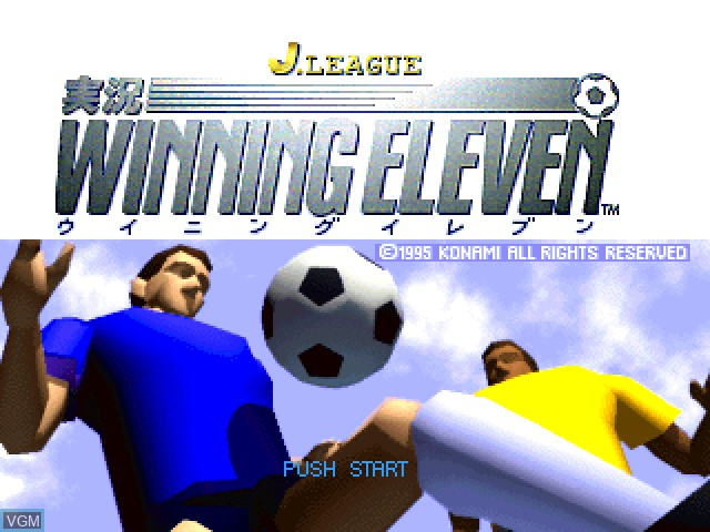 Title screen of the game J. League Jikkyou Winning Eleven on Sony Playstation