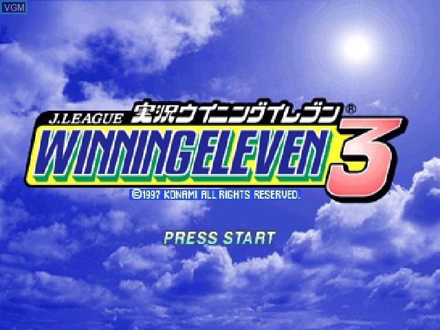 Title screen of the game J. League Jikkyou Winning Eleven 3 on Sony Playstation