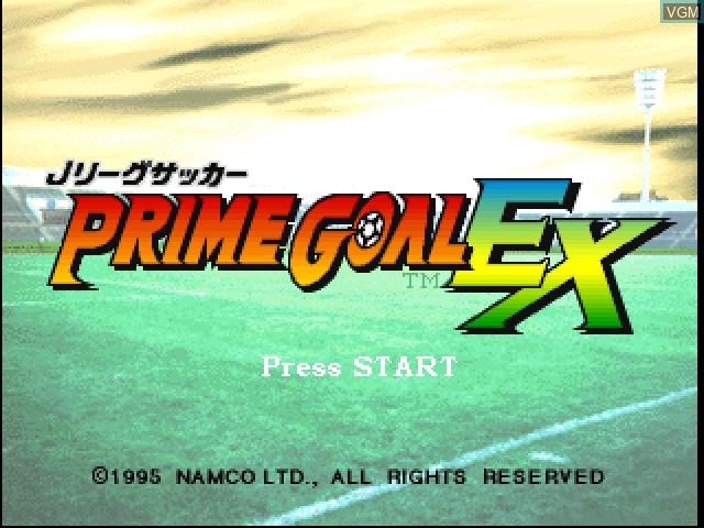 Title screen of the game J. League Soccer - Prime Goal EX on Sony Playstation