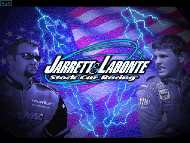 Title screen of the game Jarrett & Labonte Stock Car Racing on Sony Playstation