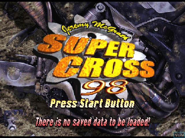 Title screen of the game Jeremy McGrath Supercross 98 on Sony Playstation