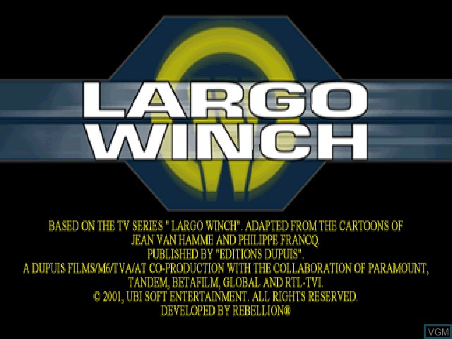 Title screen of the game Largo Winch - Commando SAR on Sony Playstation