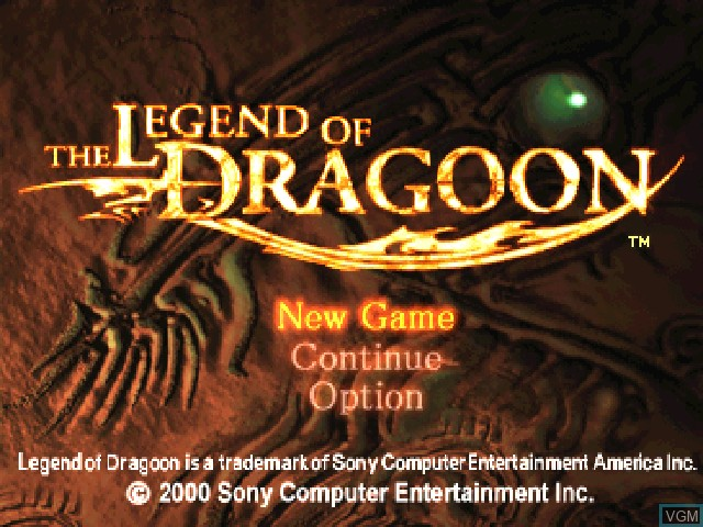 Title screen of the game Legend of Dragoon, The on Sony Playstation