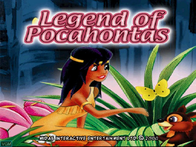 Title screen of the game Legend of Pocahontas on Sony Playstation
