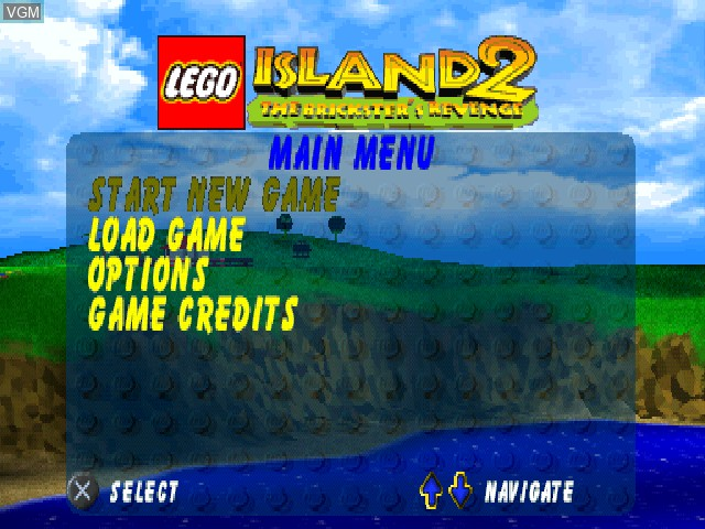 Title screen of the game LEGO Island 2 - The Brickster's Revenge on Sony Playstation
