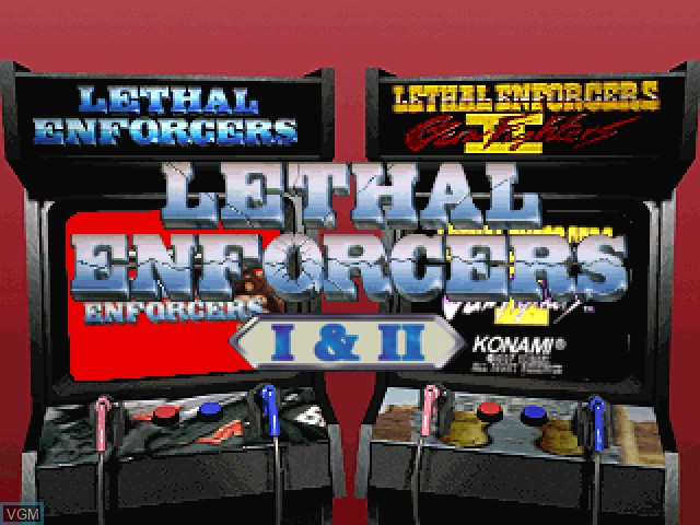 Title screen of the game Lethal Enforcers I & II on Sony Playstation