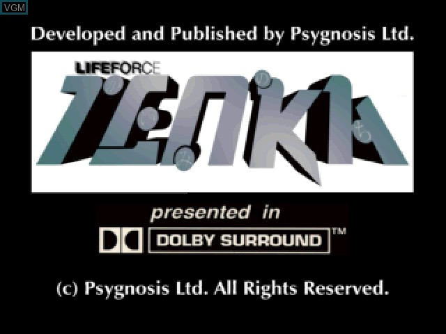 Title screen of the game Lifeforce Tenka on Sony Playstation
