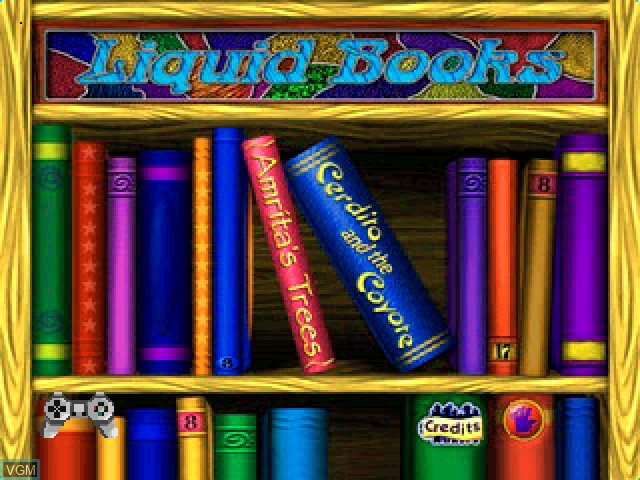 Title screen of the game Liquid Books Adventure 2 - Amrita's Trees and Cerdito and the Coyote on Sony Playstation