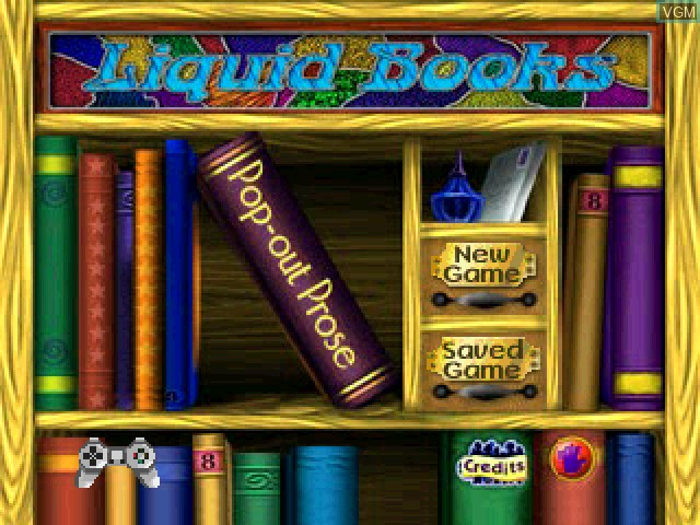 Title screen of the game Liquid Books Adventure 5 - Pop-Out Prose on Sony Playstation