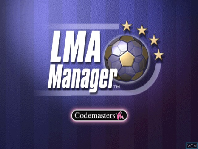 Title screen of the game LMA Manager on Sony Playstation