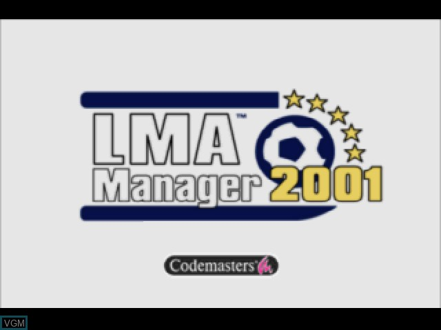 Title screen of the game LMA Manager 2001 on Sony Playstation