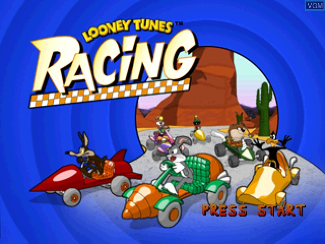 Title screen of the game Looney Tunes Racing on Sony Playstation