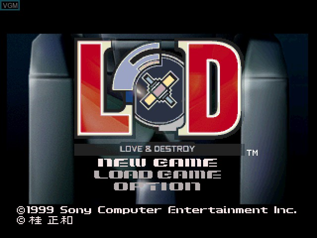 Title screen of the game Love & Destroy on Sony Playstation