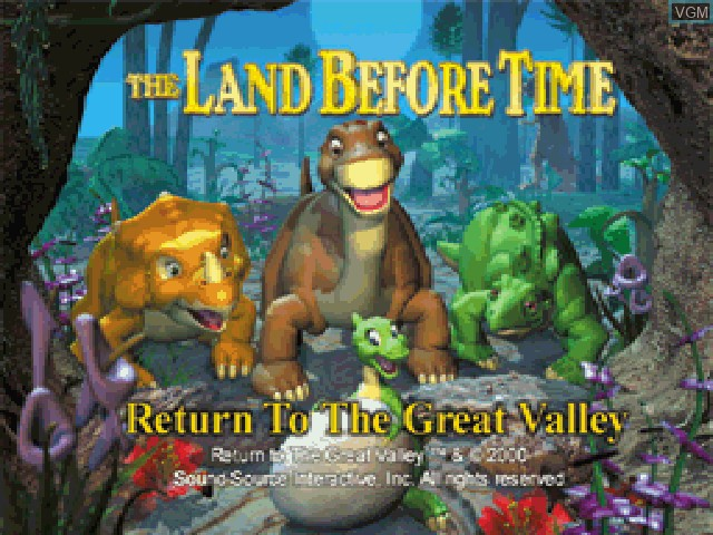 Title screen of the game Land Before Time, The - Return to the Great Valley on Sony Playstation