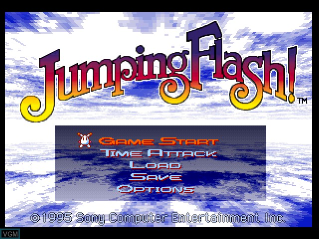 Title screen of the game Jumping Flash! on Sony Playstation
