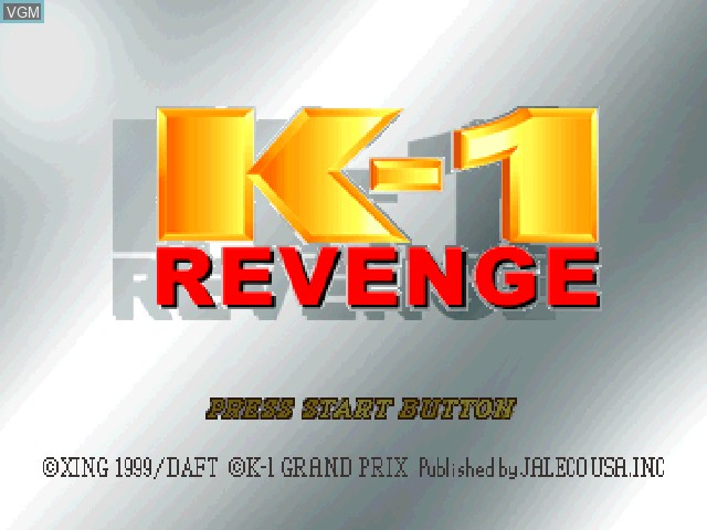 Title screen of the game K-1 Revenge on Sony Playstation