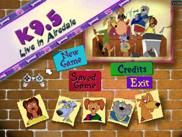 Title screen of the game K9.5 1 - Live in Airedale on Sony Playstation