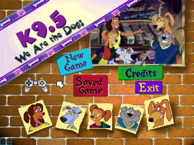 Title screen of the game K9.5 2 - We Are the Dogs! on Sony Playstation
