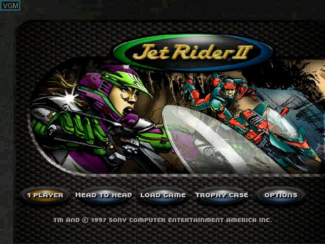 Title screen of the game Jet Rider 2 on Sony Playstation