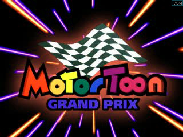 Title screen of the game Motor Toon Grand Prix on Sony Playstation