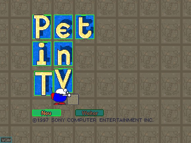 Title screen of the game Pet in TV on Sony Playstation
