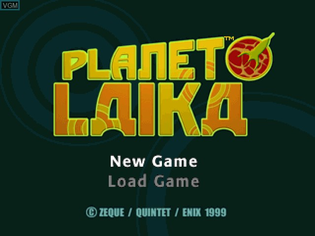 Title screen of the game Planet Laika on Sony Playstation
