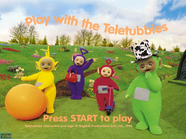 Title screen of the game Play with the Teletubbies on Sony Playstation