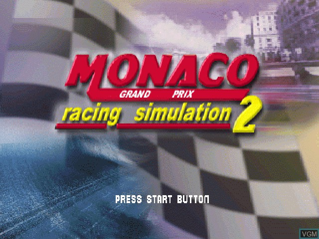 Title screen of the game Monaco Grand Prix Racing Simulation 2 on Sony Playstation