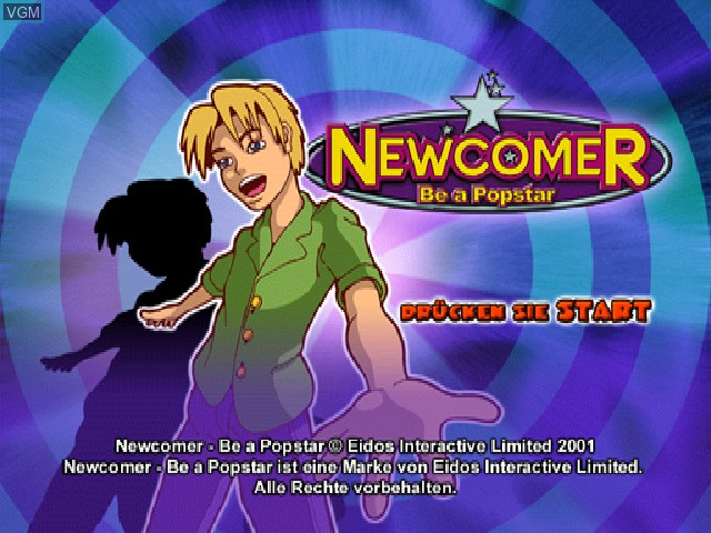 Title screen of the game Newcomer - Be a Popstar on Sony Playstation