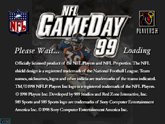 Title screen of the game NFL GameDay 99 on Sony Playstation