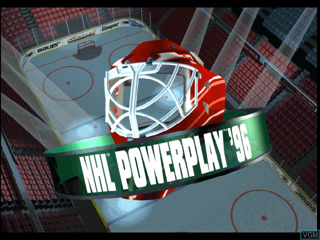 Title screen of the game NHL Powerplay '96 on Sony Playstation