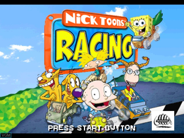 Title screen of the game Nicktoons Racing on Sony Playstation
