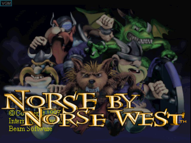Title screen of the game Norse by Norsewest - The Return of the Lost Vikings on Sony Playstation