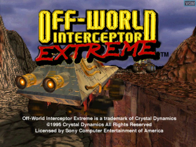 Title screen of the game Off-World Interceptor Extreme on Sony Playstation
