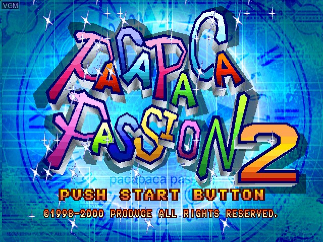 Title screen of the game Pacapaca Passion 2 on Sony Playstation