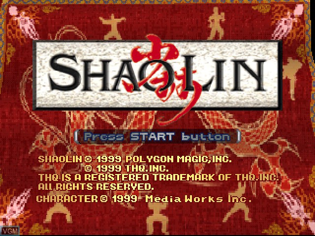 Title screen of the game Shaolin on Sony Playstation