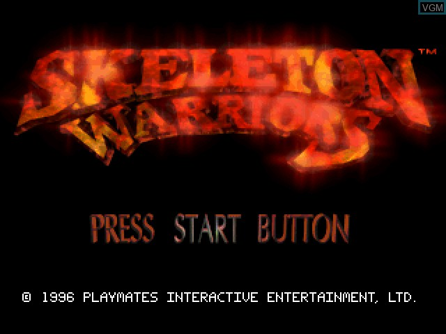 Title screen of the game Skeleton Warriors on Sony Playstation