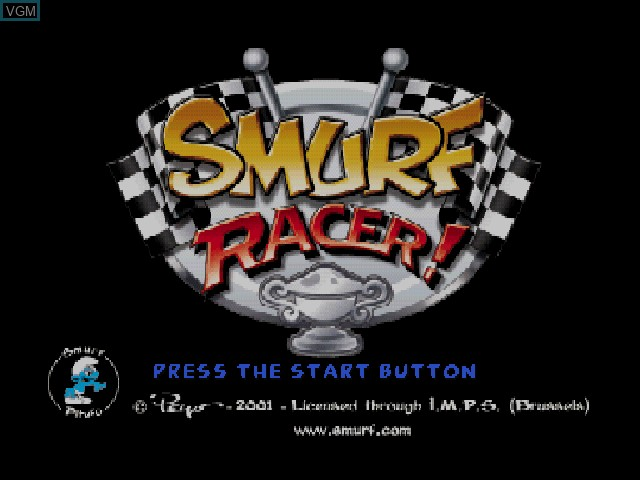 Title screen of the game Smurf Racer! on Sony Playstation