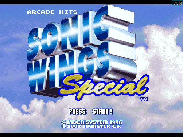 Title screen of the game Sonic Wings Special on Sony Playstation