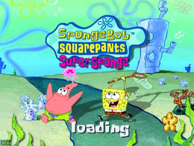 Title screen of the game Nickelodeon SpongeBob SquarePants - SuperSponge on Sony Playstation