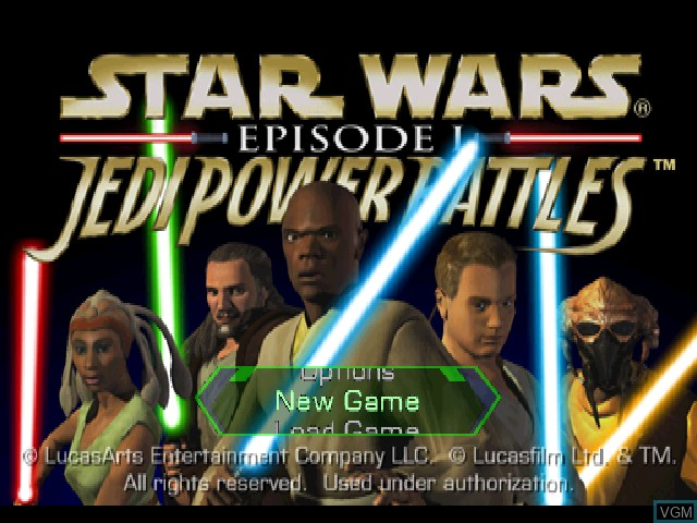 Title screen of the game Star Wars - Episode I - Jedi Power Battles on Sony Playstation