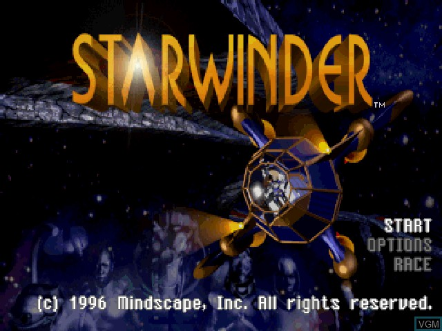Title screen of the game Starwinder - The Ultimate Space Race on Sony Playstation