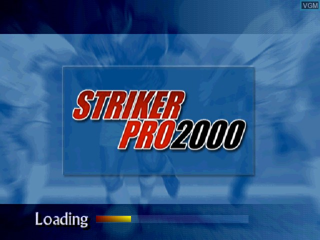Title screen of the game Striker Pro 2000 on Sony Playstation