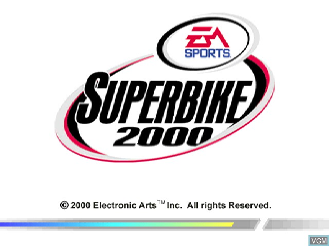 Title screen of the game EA Sports Superbike 2000 on Sony Playstation