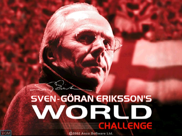Title screen of the game Sven-Goeran Eriksson's World Challenge on Sony Playstation