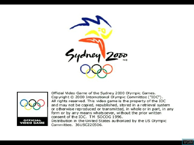 Title screen of the game Sydney 2000 on Sony Playstation