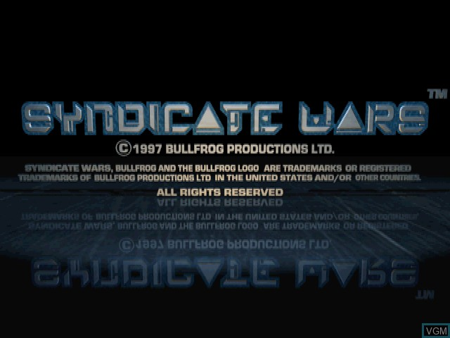 Title screen of the game Syndicate Wars on Sony Playstation