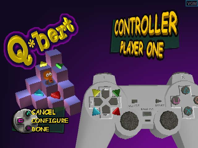 Title screen of the game Q-bert on Sony Playstation