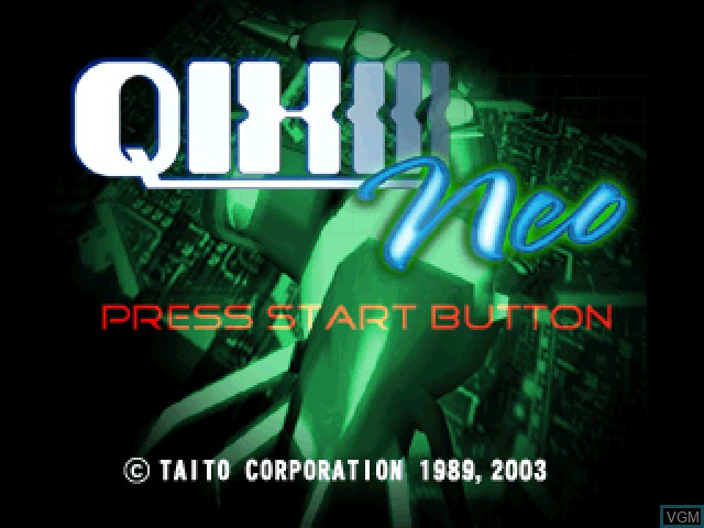 Title screen of the game Qix Neo on Sony Playstation