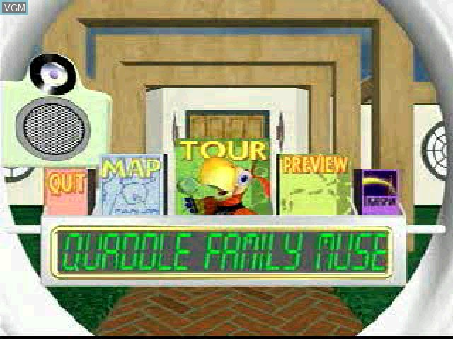 Title screen of the game Quaddle Family Mysteries, The 1 - The Case of the Scarce Scarab - Lobby - Kitchen on Sony Playstation